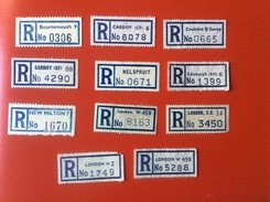 WP255 11 England Angleterre Nelspruit Cardiff Coulsdon Bournemouth Edinburgh New Milton London Registered Label - Other