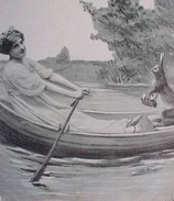 Cpa FEMME Transportant Un  LAPIN  En Barque , WOMAN WITH BUNNY IN A BOAT Old Pc Recto Verso Prix Fixe - Pâques