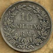 DENMARK 16 SKILLING WREATH FRONT KING FREDERICUS VII HEAD BACK 1856 AG SILVER F+ KM765 READ DESCRIPTION CAREFULLY !!! - Denmark