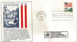 American Flag Over Yosemite's Upper Falls, Sierra Nevada Mountains,Calif. (new Coil Stamp) FDC Addressed To California