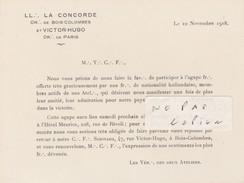 FRANC-MACONNERIE- PARIS/BOIS-COLOMBES - Agape Pour L'Hôtel Meurice à Paris ( Format 14 Cm X 10,5 Cm ) - Collezioni