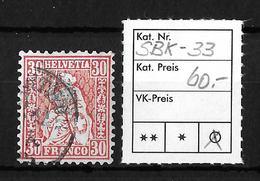 SITZENDE HELVETIA Gezähnt → SBK-33  ►EINWANDFREI◄ - 1862-1881 Sitzende Helvetia (gezähnt)