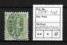 1907-1909 TELLKNABE (neue Zeichnungen) → SBK-103, HERGISWIL 29.VII.08 - Gebraucht