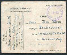 1945 Italy POW Kriegsgefangenenpost, Prisonniers De Guerre. Labour Unit Naples. Civil Censor - Braunschweig Germany - Storia Postale