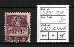 1914-1933 TELLBRUSTBILD → SBK-154, LAUSANNE .... III.22 - Oblitérés