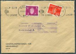 1952 Norway Oslo Generalinspektoren For Heimevernet, Lindring Og Lykke Official Cover - Fredrikstad - Norway