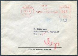 1959 Norway Oslo Sivilforsvar Franking Machine, Meter Mark Cover - Norway