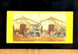 Photo Stereo Photographie 3D Relief : Scène Colorisée Ouvriers Au Travail Carrière Construction - Stereoscopio