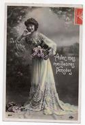 Cpa - Jeune Femme Dans Une Robe Avec Des Fleurs - Avec Mes Meilleurs Pensées - Oto 804 - Cachet Morez Jura 1909 - Femmes