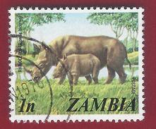 1975 - Zambia - Black Rhinoceros (Diceros Bicornis) - Mi:ZM 141 - Used - Zambia (1965-...)