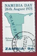 1975 - Zambia - Map Of Namibia - Mi:ZM 156 - Used - Zambia (1965-...)
