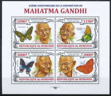 NB- N° 2042/45 Yvert, 65eme Anniversaire De La Disparition De Mahatma Gandhi, Homme De Paix - Burundi