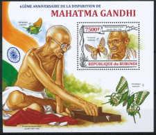 NB- BL350 Yvert, 65eme Anniversaire De La Disparition De Mahatma Gandhi, Homme De Paix - Burundi