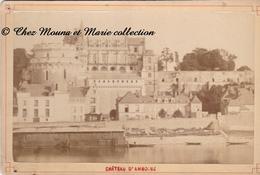 AMBOISE 1896 XIX - VUE SUR LE CHATEAU ET LE QUAI - INDRE ET LOIRE - PHOTO SUR SUPPORT CARTONNE 16.5 X 11 CM - Anciennes (Av. 1900)