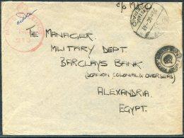 1942 Egypt Military Feldpost E.P.P. 33 Censor Cover - Barclays Bank Alexandria - Covers & Documents