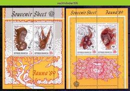 Mwe079MS WWF FAUNA ZOOGDIEREN AAP MONKEY ORANG OETAN ORANG UTAN SHEETS MAMMALS INDONESIA 1989 PF/MNH - Unused Stamps