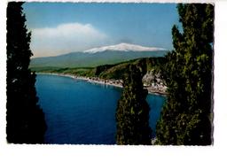 S1758 Cartolina Della Sicilia - Taormina, Messina - Panorama Con Etna Innevato _ CIRCOLATA 1956 - Italia