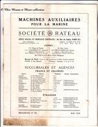 MARINE 1928 - MACHINES AUXILIAIRES - SOCIETE RATEAU - TURBOVENTILATEUR TURBOPOMPE - BROCHURE DE 16 PAGES - MILITAIRE - Catalogues