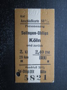 VP TICKET DE TRANSPORT ALLEMAGNE (M1601) SOLINGEN-OHLIGS - KÖLN (2 Vues) 25/07/1965 - Chemins De Fer