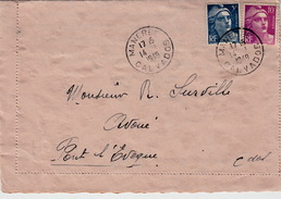 FRANCE  1949  LETTRE MANERBE POUR PONT L'EVEQUE  CALVADOS - France