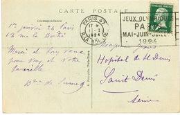 O.MEC FLIER PARIS 47 R LA BOETIE JEUX OLYMPIQUES PARIS 1924 SUR CPA ARC DE TRIOMPHE