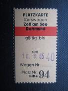 VP TICKET DE TRANSPORT ALLEMAGNE (M1601) ZELL AM SEE - DORTMUND(2 Vues) 25/07/1965 N°94 - Chemins De Fer