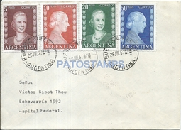 64488 ARGENTINA BUENOS AIRES SOBRE COVER AÑO 1952 MULTI STAMPS EVITA EVA PERON VALORES ALTOS NO POSTCARD - Documentos Antiguos