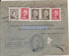 64491 ARGENTINA BUENOS AIRES AGRICULTURA Y GANADERIA COVER MULTI STAMPS EVITA EVA PERON NO POSTCARD - Documentos Antiguos