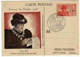 AOF CARTE POSTALE JOURNEE DU TIMBRE 1945 SAINT LOUIS SENEGAL - Lettres & Documents