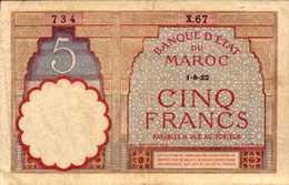MAROC 5 FRANCS Du 1-8-1922 Pick 3Aa - Morocco