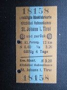 VP TICKET DE TRANSPORT ALLEMAGNE (M1601) KITZBÜHEL HAHNENKAMM - ST. JOHANN I. TIROL (2 Vues) 29/07/1965 N°18158 - Chemins De Fer