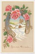 Bonne Année. Fer à Cheval, Village Enneigé, Roses Roses. Carte Dorée. - Nouvel An