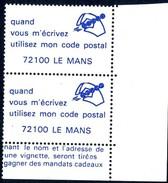 VIGNETTES CODE POSTAL - 72100  LE MANS - Commemorative Labels