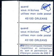 VIGNETTES CODE POSTAL - 45100  ORLEANS - Commemorative Labels