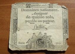 1792 - France - ASSIGNAT De QUINZE SOLS, Loi Du 4 Janvier 1792, L'An 4è, Série 404 - Assignats & Mandats Territoriaux