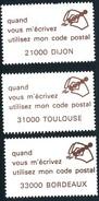 3 VIGNETTES CODE POSTAL - Commemorative Labels