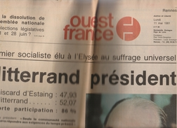 Ouest-France 11 Mai 1981 - Mitterrand Président - 1950 - Today