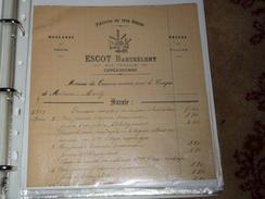 Lettre  Document  Platrerie En Tous Genres ESCOT Barthelemy 107 Rue Trivalle Carcassonne Moulures Rosaces Decors - France
