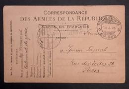 Carte De Franchise Militaire Officielle Française Armée D'Orient Oblitérations SERBIE SP 999 Et SP 111 Vers Paris - Postmark Collection (Covers)