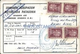 64513 ARGENTINA COMODORO RIVADAVIA COVER SOBRE COMANDO MOTORIZADA PATAGONIA AÑO 1955 STAMPS EVITA NO POSTCARD - Vecchi Documenti