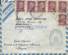 64514 ARGENTINA COMODORO RIVADAVIA COVER MOTORIZADA PATAGONIA 1955 STAMPS EVITA CIRCULATED TO URUGUAY NO POSTCARD - Vecchi Documenti