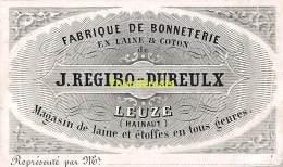 PORSELEINKAART CARTE PORCELAINE J REGIBO DUREULX LEUZE HAINAUT FABRIQUE DE BONNETERIE 9,5 CM X 5,5 CM - Leuze-en-Hainaut