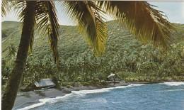 TAHITI -  Fare Polynnésien Au Bord Du Lagon Et Plage De Sable Noir - Tahiti