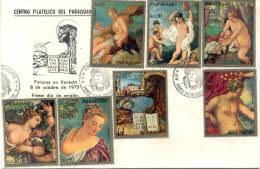 PINTURAS EN VENECIA FDC PARAGUAY OCTUBRE DE 1973 TBE SOBRE DESNUDOS NUDE NUDO NU NUS NUDE NACKT - Museos