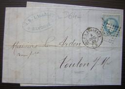 1869 Cachet Irun à Bordeaux Sur Une Lettre De Bayonne (Lagrolet) Pour Toulon - Poste Ferroviaire
