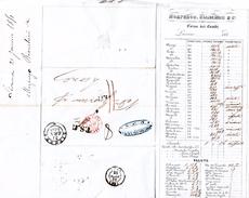 21 JANVIER 1851 ITALIE LIVORNO MORPURGO-BIANCHINI POUR LYON GUERIN ENTREE SARD. PONT-DE-B. TAXE PLUME 11 CORSO DEI CAMBI - 1801-1848: Précurseurs XIX