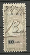 NEDERLAND Netherlands Indie Revenue Tax Plakzegel O 1894 With Overprint - Indes Néerlandaises