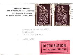 FRANCE 1974 LETTRE DISTRIBUTION PAR PORTEUR SPECIAL - SYNDICAT NATIONAL DES DIRECTEURS LABOS - LE MOUTIER D'AHUN - France