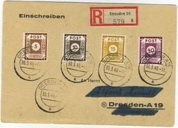 GERMANY Soviet Zone Registered  DRESDA A 16 30-3-1946 Michel N° 42-45--47-50 Arrival Postmark On The Back Dresden1-4-16 - Zone Soviétique