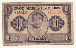 BILJET 10 FRANCS - ZENG FRANG - ZIE 2 AFBEELDINGEN - Luxembourg